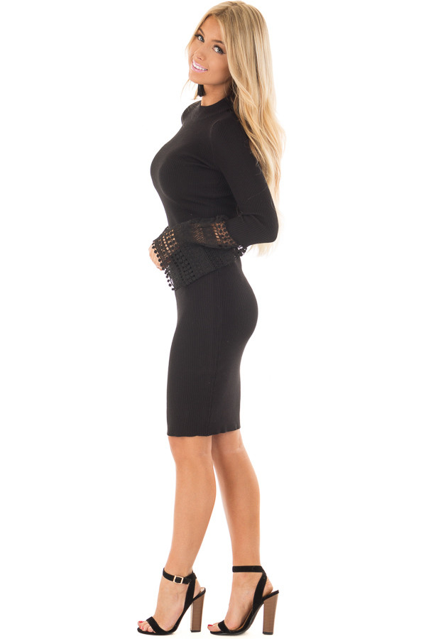 Black Ribbed Bodycon Dress with Crochet Bell Sleeves side full body