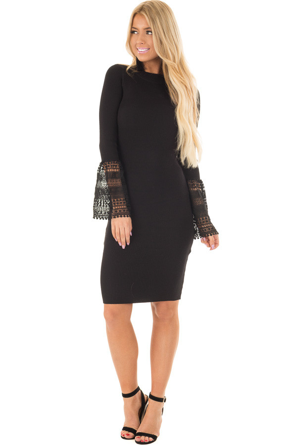 Black Ribbed Bodycon Dress with Crochet Bell Sleeves front full body