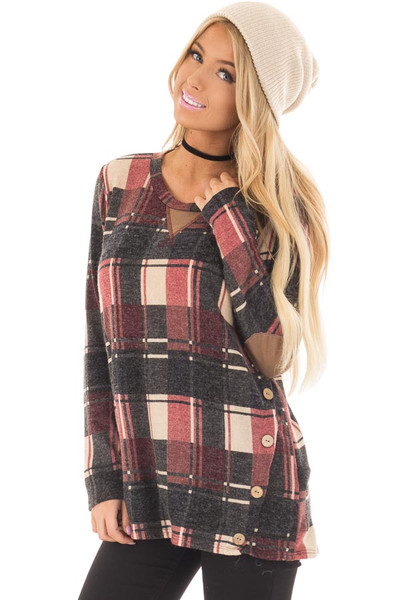 Burgundy Plaid Top with Faux Suede and Button Details front closeup