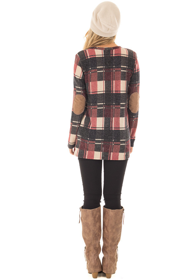 Burgundy Plaid Top with Faux Suede and Button Details back full body