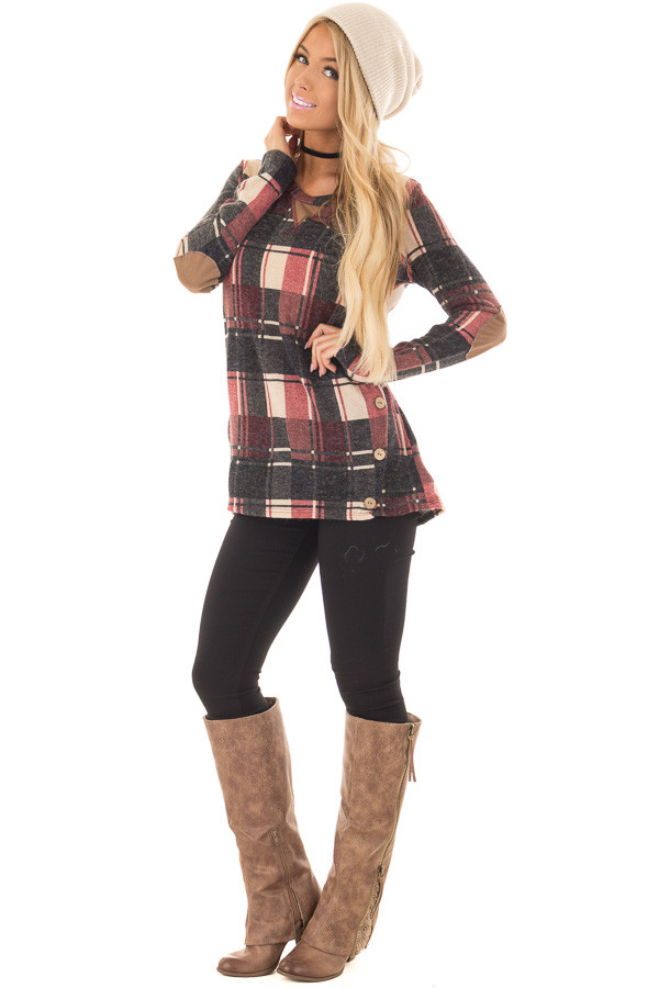 Burgundy Plaid Top with Faux Suede and Button Details front full body