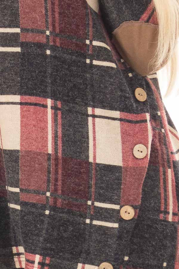 Burgundy Plaid Top with Faux Suede and Button Details front detail