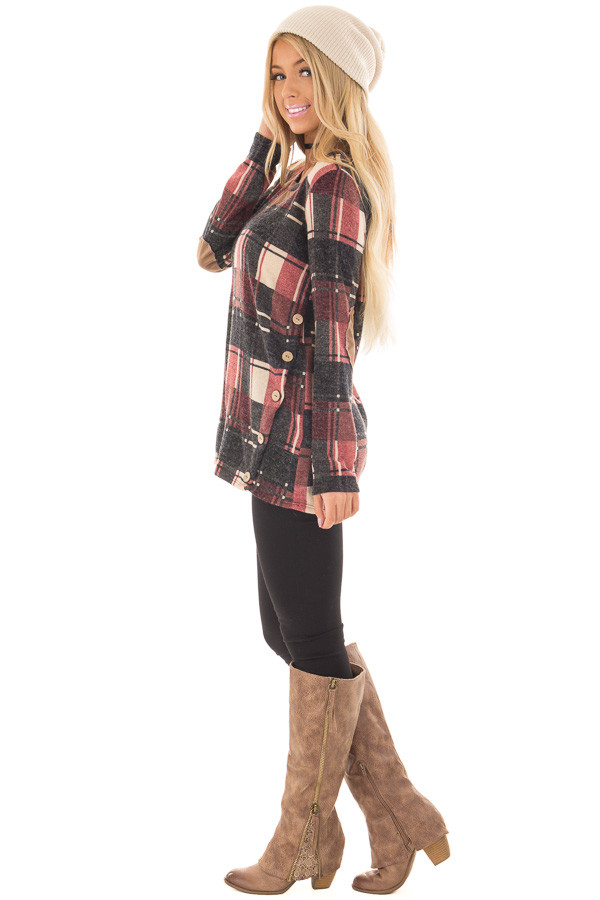 Burgundy Plaid Top with Faux Suede and Button Details side full body