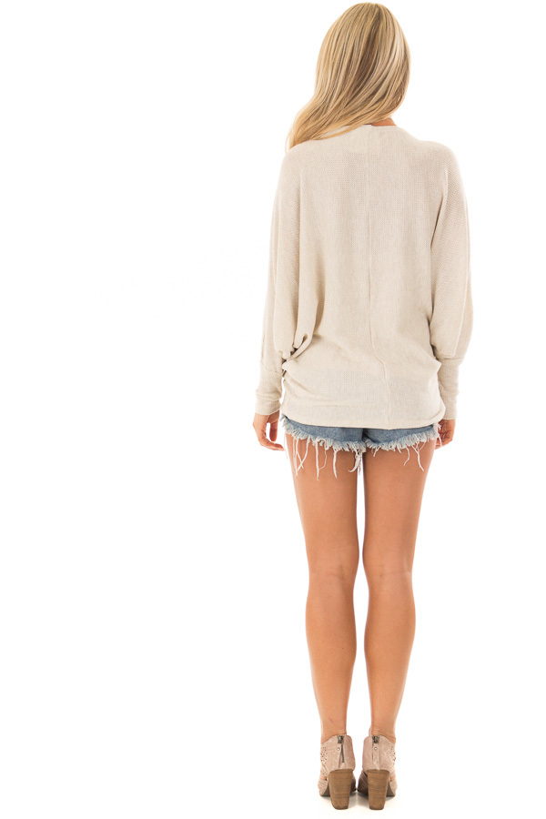 Oatmeal Oversized Off the Shoulder Top back full body