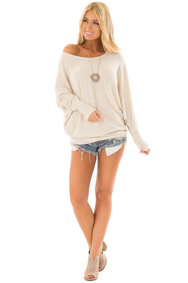 Oatmeal Oversized Off the Shoulder Top front full body