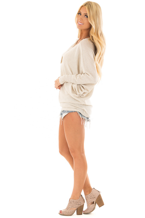 Oatmeal Oversized Off the Shoulder Top side full body