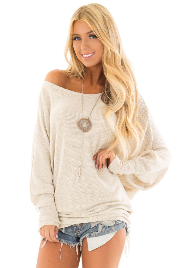 Oatmeal Oversized Off the Shoulder Top front close up