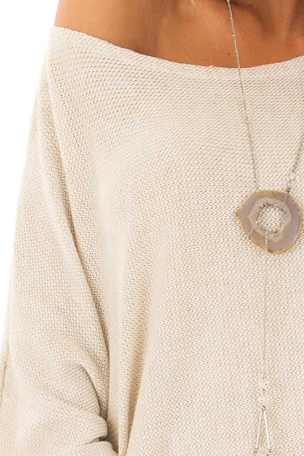 Oatmeal Oversized Off the Shoulder Top detail