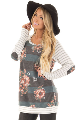 Hunter Green and Charcoal Floral Top with Striped Sleeves front closeup