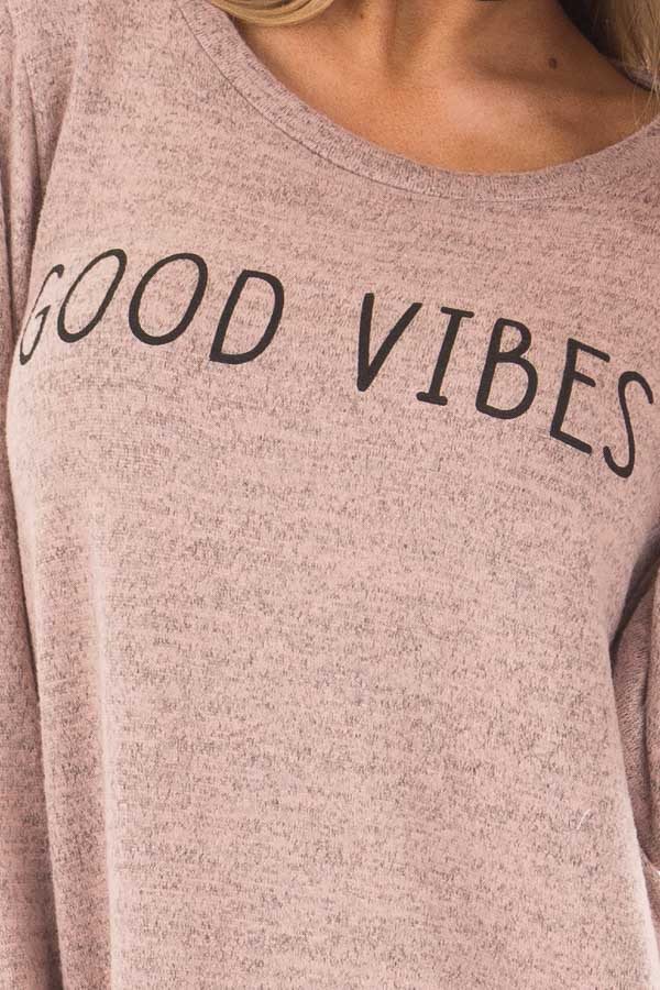 Dusty Pink 'Good Vibes' Top with Bell Sleeves front detail