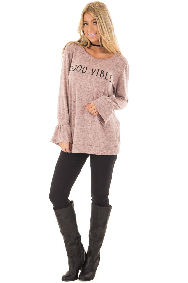Dusty Pink 'Good Vibes' Top with Bell Sleeves front full body