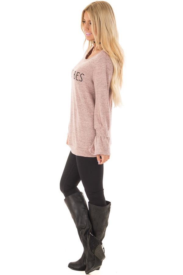 Dusty Pink 'Good Vibes' Top with Bell Sleeves side full body