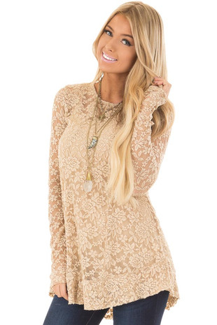 Taupe Sheer Lace Long Sleeve Flowy Top front closeup