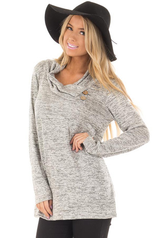 Light Grey Two Tone Cowl Neck Top with Button Details front closeup