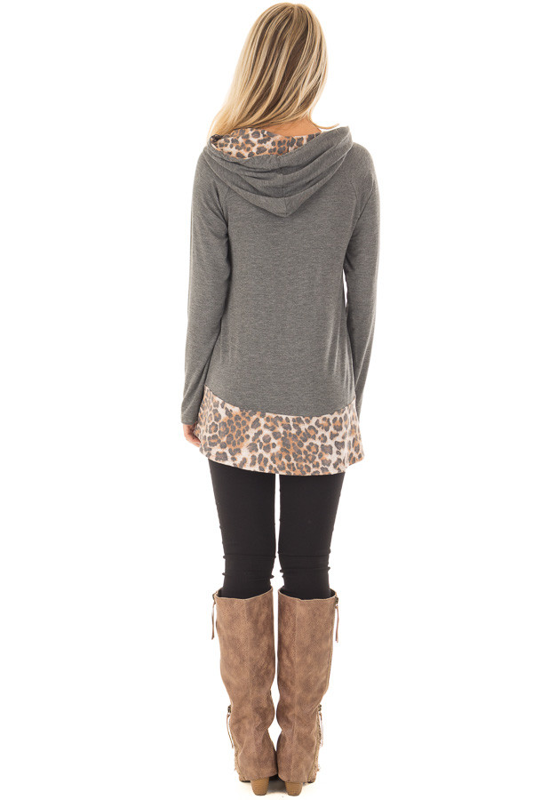 Charcoal Hoodie with Leopard Print Contrast back full body