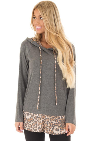 Charcoal Hoodie with Leopard Print Contrast front closeup