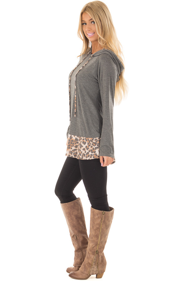 Charcoal Hoodie with Leopard Print Contrast side full body