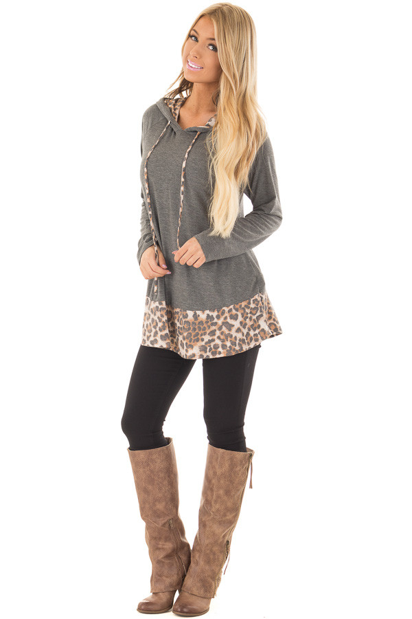 Charcoal Hoodie with Leopard Print Contrast front full body