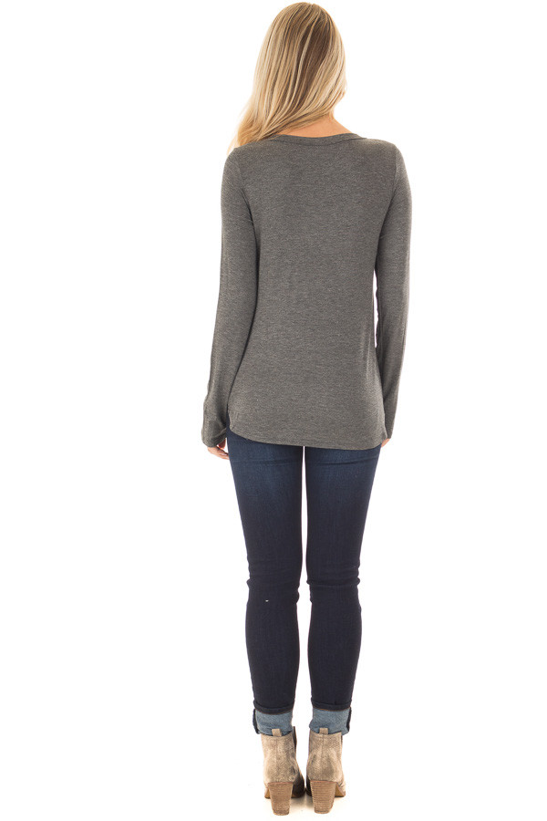 Charcoal 'Blessed' Long Sleeve Tee Shirt back full body