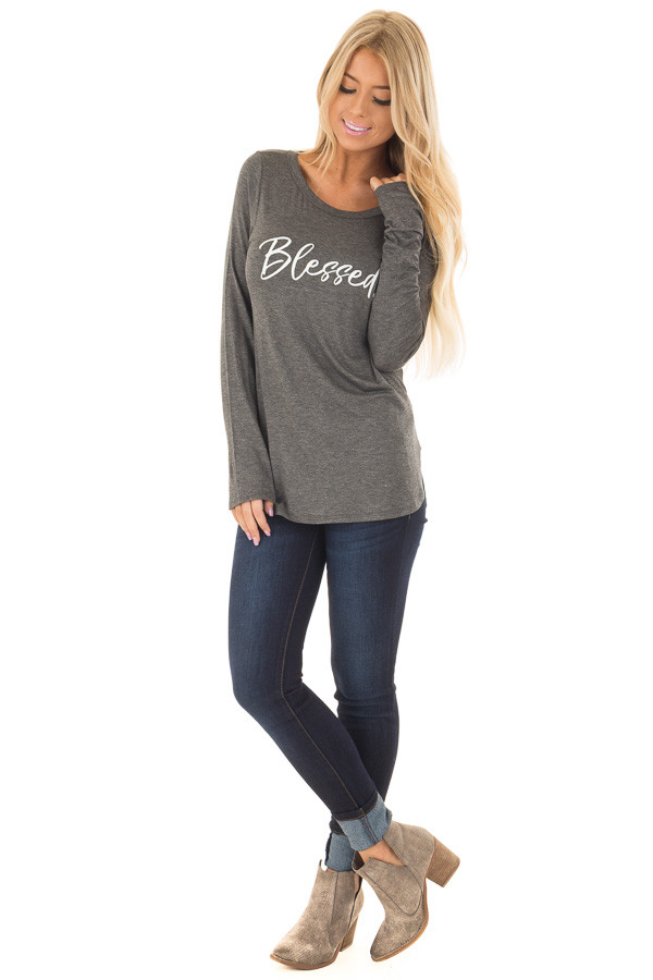 Charcoal 'Blessed' Long Sleeve Tee Shirt front full body