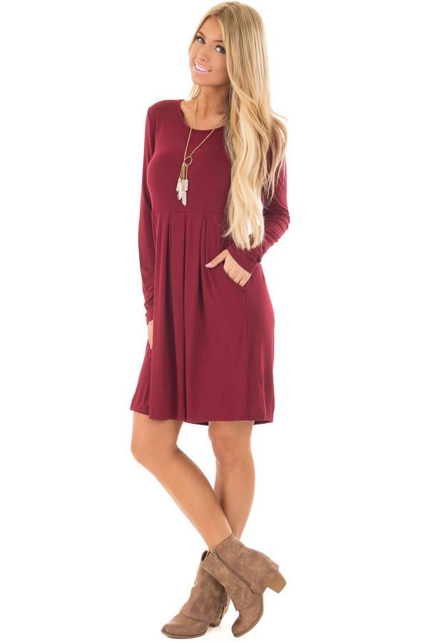 Burgundy Long Sleeve Dress with Pockets front full body