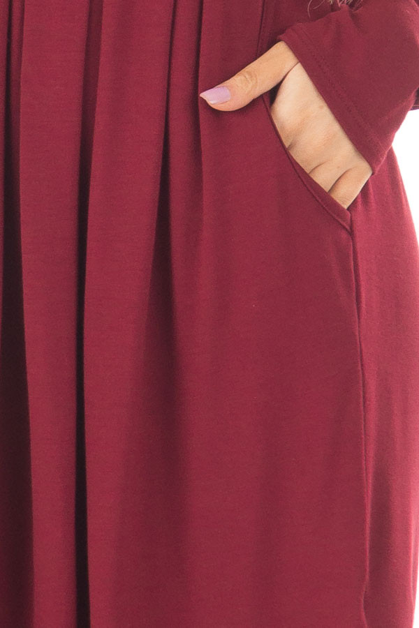 Burgundy Long Sleeve Dress with Pockets front detail