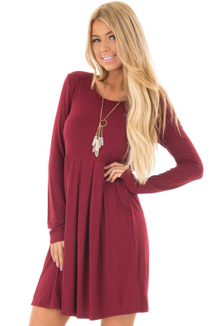 Burgundy Long Sleeve Dress with Pockets front closeup