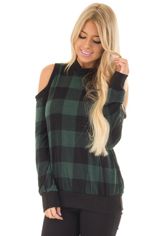 Forest Green and Black Buffalo Plaid Cold Shoulder Top front closeup
