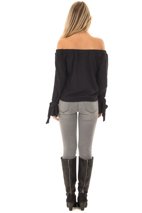 Black Off the Shoulder Top with Tie Details back full body