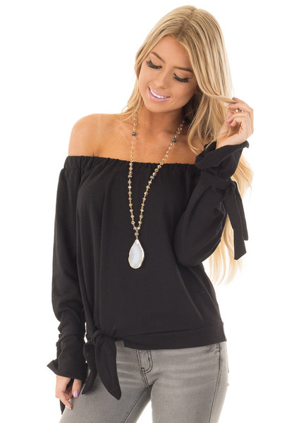 Black Off the Shoulder Top with Tie Details front close up
