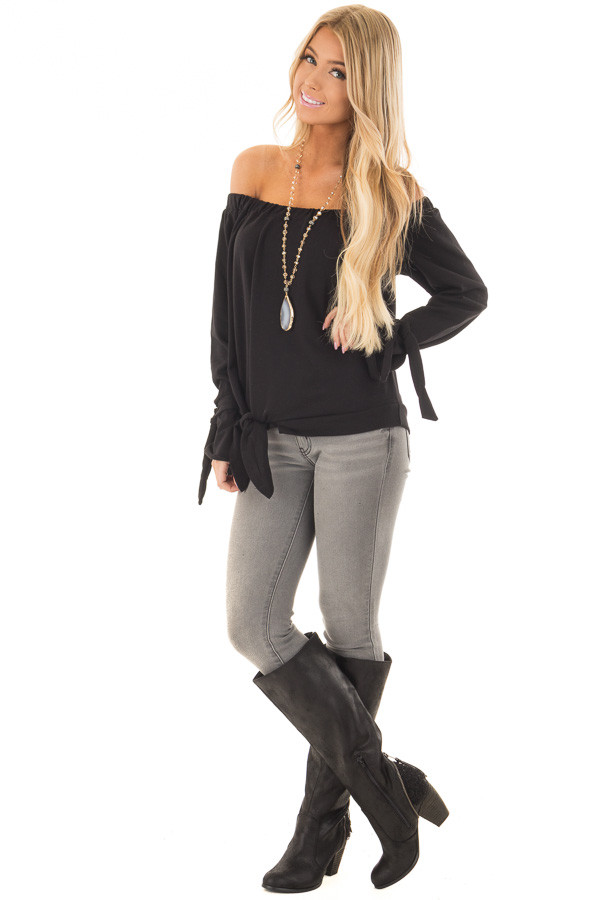 Black Off the Shoulder Top with Tie Details front full body