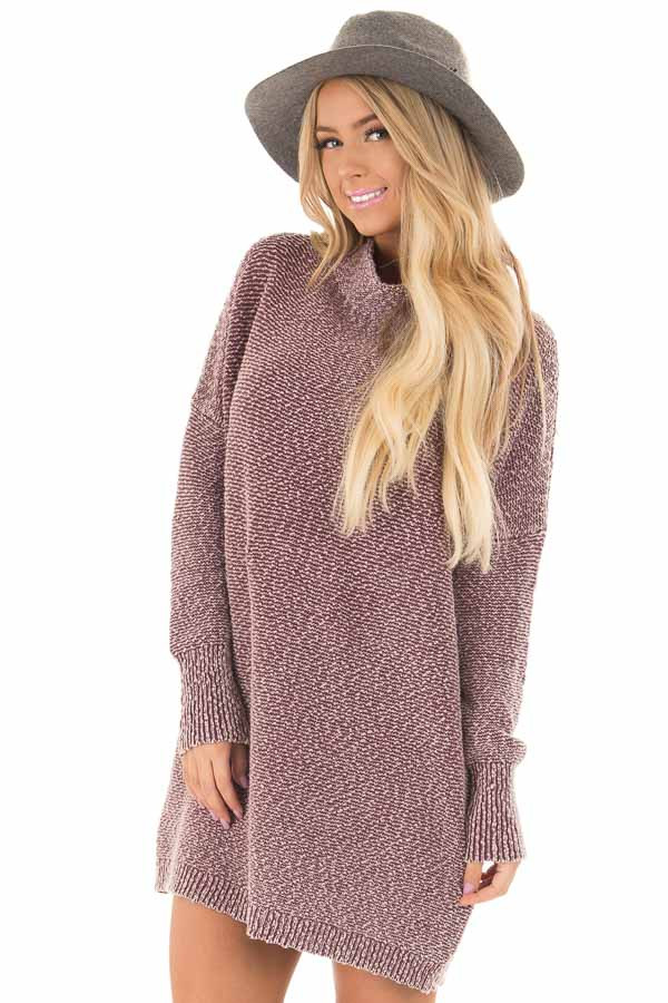 Burgundy Mineral Wash High Neck Long Sleeve Tunic front close up