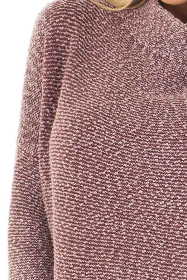 Burgundy Mineral Wash High Neck Long Sleeve Tunic detail