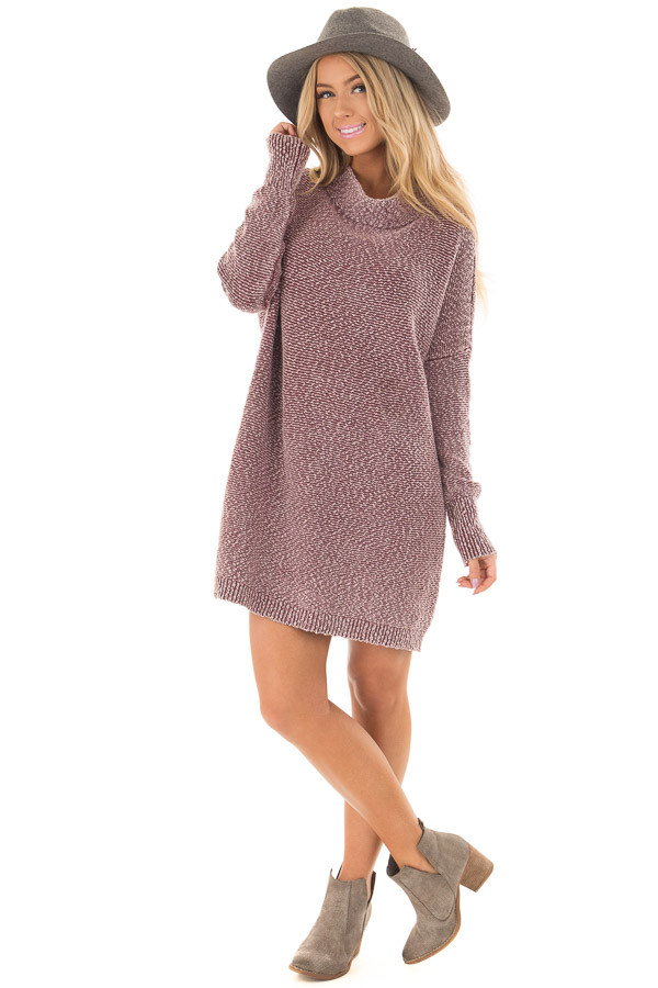 Burgundy Mineral Wash High Neck Long Sleeve Tunic front full body