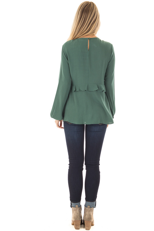 Emerald Long Sleeve Blouse with Ruffle and Lace Details back full body