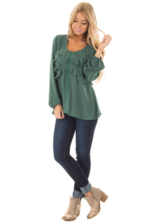 Emerald Long Sleeve Blouse with Ruffle and Lace Details front full body