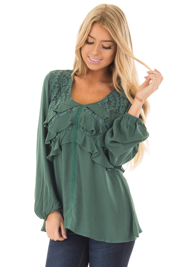 Emerald Long Sleeve Blouse with Ruffle and Lace Details front close up