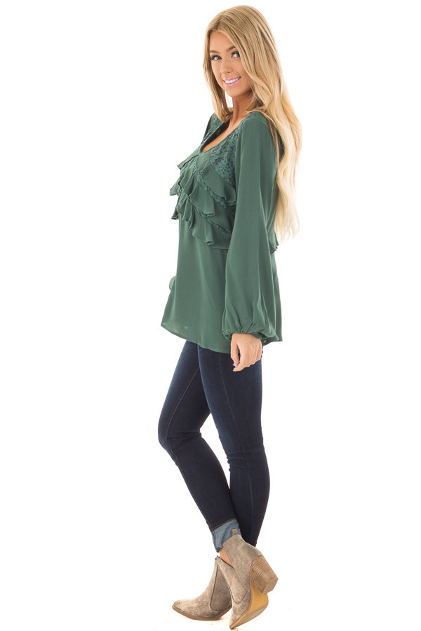 Emerald Long Sleeve Blouse with Ruffle and Lace Details side full body