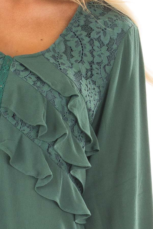Emerald Long Sleeve Blouse with Ruffle and Lace Details detail