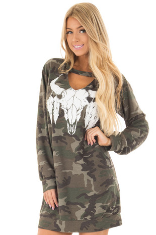 Olive Camo Dress with Skull and Feather Graphic front close up