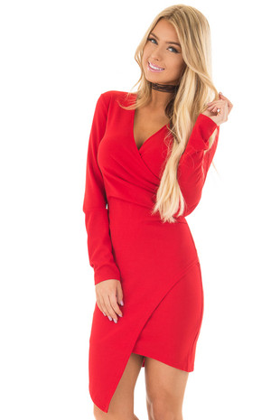 Lipstick Red Crossover Fitted Long Sleeve Dress front close up