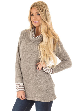 Mocha Cowl Neck Sweater with Striped Contrast front close up