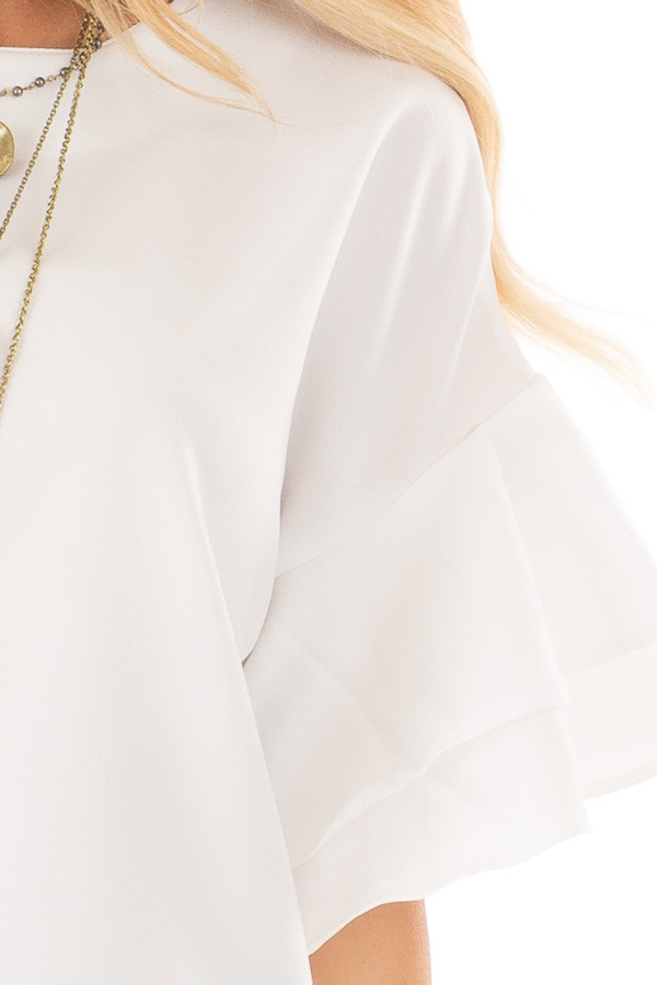 Winter White Tiered Bell Sleeve Blouse detail