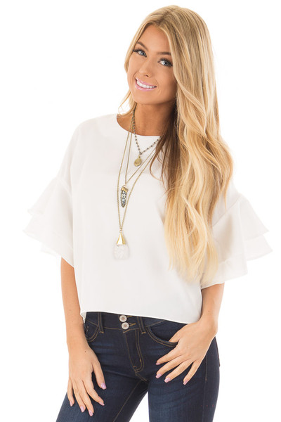 Winter White Tiered Bell Sleeve Blouse front close up
