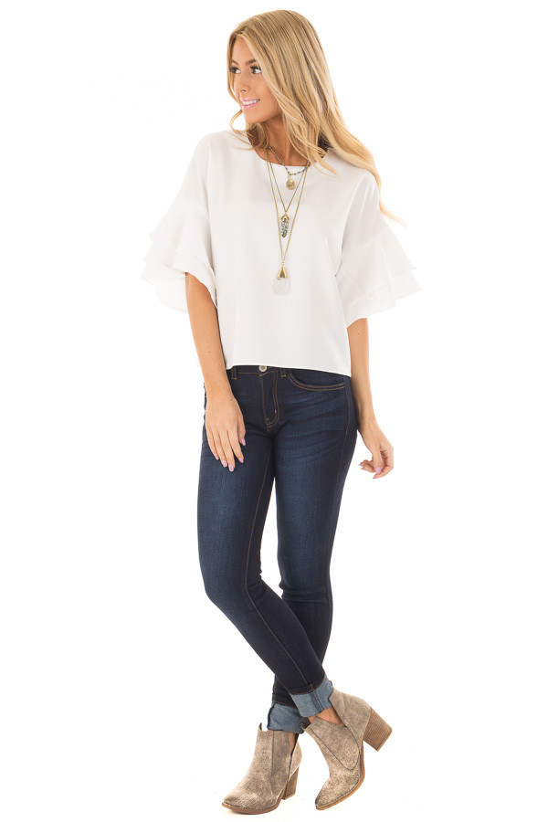 Winter White Tiered Bell Sleeve Blouse front full body