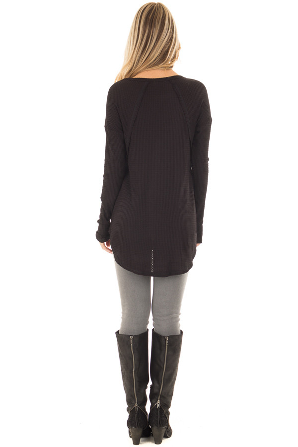 Black Waffle Knit Long Sleeve Top with Stitching Details back full body