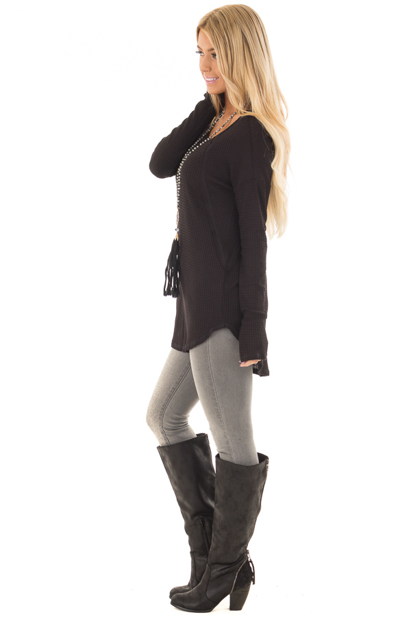 Black Waffle Knit Long Sleeve Top with Stitching Details side full body