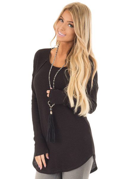 Black Waffle Knit Long Sleeve Top with Stitching Details front close up