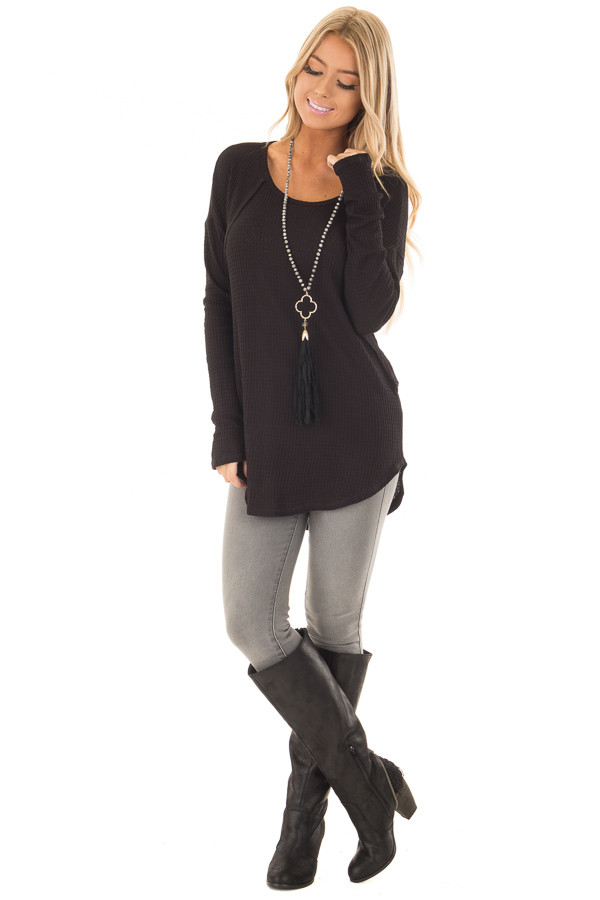 Black Waffle Knit Long Sleeve Top with Stitching Details front full body