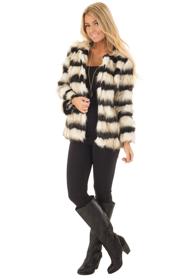 Black and Ivory Striped Faux Fur Jacket front full body